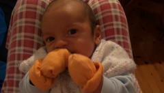 Portrait of boxing baby Stock Footage