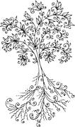 floral decorative tree - stock illustration