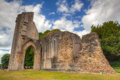 the detail of ruins abbey in glastonbury - stock photo