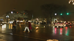 Intersection at ice festival - time lapsed Stock Footage