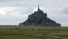 The mystical Abbey Mont Saint Michel Stock Footage