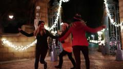 Teen Girls w/Sparklers Frolic In A Circle At Gate Of Winter Wonderland Stock Footage