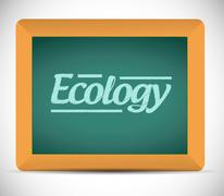 Ecology word written on a blackboard. illustration Stock Illustration