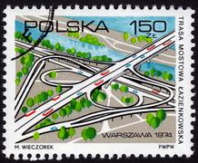 Polish stamp showing a cloverleaf interchange Stock Photos