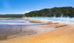 grand prismatic and midway geyser basin - stock photo