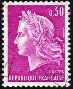 Marianne on french postage stamp ca. 1969 Stock Photos