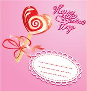Valentines day card with heart candy -  lollipop - on pink background Stock Illustration