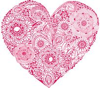 Red floral heart on white background. element for your valentine`s day design Stock Illustration