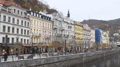 View city Karlovy Vary beautiful autumn Stock Footage