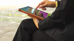 Woman hands with tablet computer Stock Footage