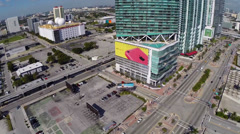 Aerial footage of highrise condos at Downtown Miami Stock Footage
