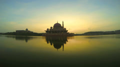 Time lapse of Sunrise near Putra Mosque - stock footage