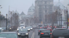 Monday Morning Traffic In Downtown Bucharest Above-Shot Stock Footage