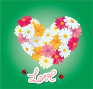 heart is made of daisies on a green background. valentines day card. - stock illustration