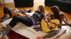 4 Teen Girls & A Guitar, Relaxing, Strumming, Singing Stock Footage