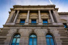 Ulkopuoli arkkitehtuuria Library of Congress, Washington DC: ssä. Kuvituskuvat