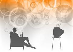 watching tv - stock illustration