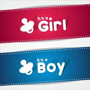 Birth Banners, It's A Boy, Girl - stock illustration