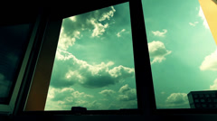 Clouds in sky, view open window, timelapse Stock Footage