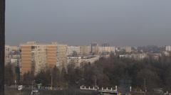 Communist Era Apartment Buildings And Traffic Aerial Still-Shot Stock Footage