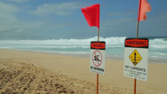 Stock Video Footage of Ocean wave dangerous rip currents sign shore break