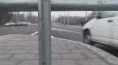Macro Shot Of A Fence And Traffic In Background Stock Footage