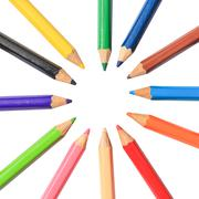 Pastel color pencil on white paper background Stock Photos