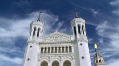 Basilica of Notre-Dame de Fourvière (2) - Lyon France Stock Footage