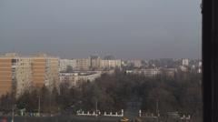Communist Era Apartment Buildings Aerial Still-Shot Stock Footage