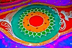 colorful rangoli during diwali festival, maharashtra, india - stock photo