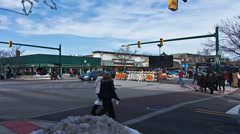 Intersection at ice festival - 4K Ultra HD time lapsed Stock Footage