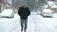 4K Walking in a Snow Storm 3951 Stock Footage
