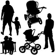 Family Silhouettes - stock illustration