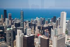 view on chicago skyline panorama - stock photo