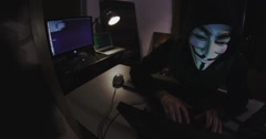 Cyber Security - Anonymous Hacker stealing identities Stock Footage