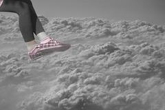 legs of female over clouds - stock illustration