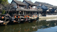 Traditional Chinese houses in XiTang Water Town,float boats,shanghai. Stock Footage