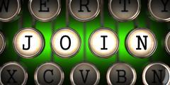 Old Typewriter's Keys with Join Slogan. - stock illustration