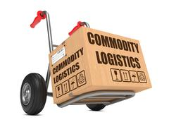 Commodity Logistics - Cardboard Box on Hand Truck. - stock illustration
