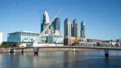 Stock Video Footage of Argentina buenos Aires Puerto Madero with bridge