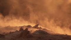 Martian terrain with fumes in slow motion - stock footage