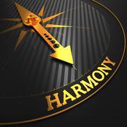 Harmony on Golden Compass. - stock illustration