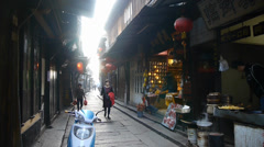 Traditional Chinese houses & street in the morning,XiTang Water Town,shanghai. Stock Footage
