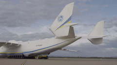 HD Antonov 225 Mriya airplane twin tail Stock Footage
