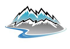 Mountains, peaks and river Stock Illustration