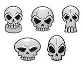 Stock Illustration of different human skulls for halloween