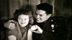 794 - soldier and his girl share time together - vintage film home movie Stock Footage