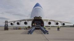HD Antonov 225 Mriya airplane with opened cargo door - stock footage