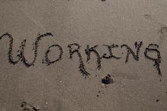 Sand beach script Stock Photos