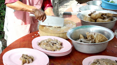 Preparing boil stewed duck for customer at Thai restaurant Stock Footage